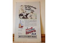 Newcastle Brown Ale metal advertising poster - camping