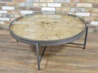 Vintage Style Industrial Glass Coffee Table Metal Wooden Wood Rustic Silver NEW