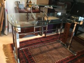 Modern Desk in Glass and Stainless Steel. Very good condition.