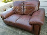 Dark red leather 2 seater sofa free delivery