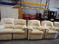 Modern G Plan 2 seater sofa 2 armchairs foot stool recliner sofa seat Cream