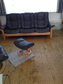 Ekorness stressless 3 seater high back sofa