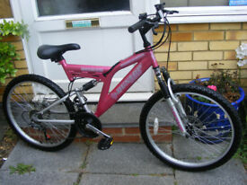 "GIRLS 24"" WHEEL FULL SUSPENSION BIKE IN GREAT WORKING ORDER AGE 9+"