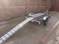 Galvanized Single motorbike trailer with ramp and full set of straps