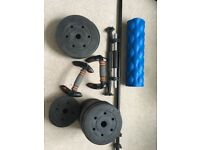 Weights Set, Push Up Handles, and Foam Roller for sale
