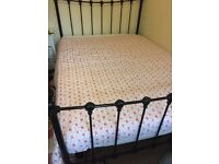 DOUBLE BLACK IRON BED WITH MATTRESS