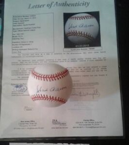 Hank Aaron Autographed Baseball with AUTHENTICATION Paper/JSA