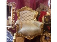 Fabulous French rococo style gold chair