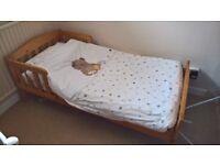 Toddler Bed ( minimal use kept at Gran's house) Incl. mattress, duvet and all bedding.