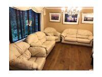 4 piece cream leather sofa