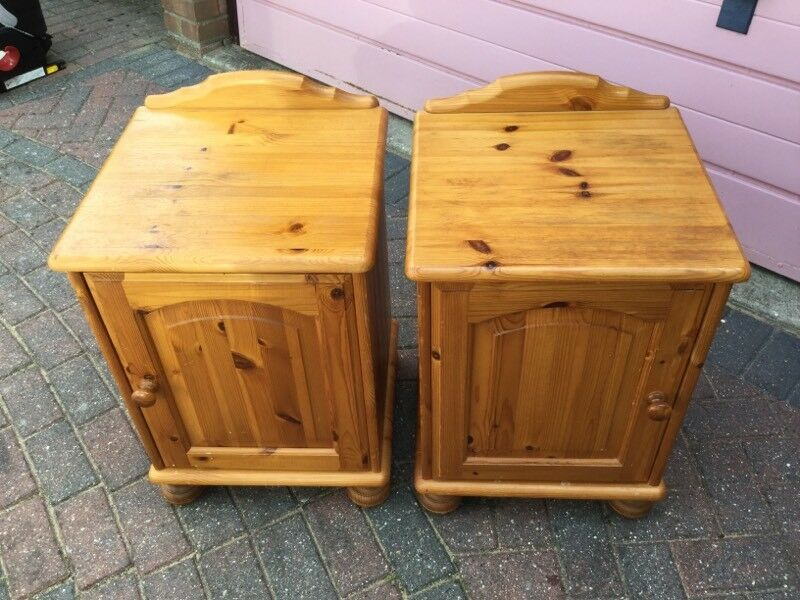 A PAIR OF PINE BEDSIDE CUPBOARDSin Great Cornard, SuffolkGumtree - A pair of pine bedside cupboards 44cm w x 42cm d x 61cm hStructurally sound but the tops are a little markedSmoke free home