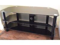 TV Unit, Black Glass 3 shelfs