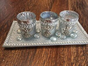 Decorative glass tray with 3 angel candle holders