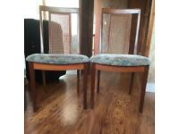 Two Teak Wood Dining Chairs