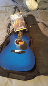 Blue Acoustic Guitar & Case + Accessories (REDUCED PRICE)