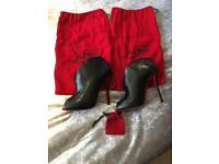 Louboutin shoes boots worn once black size 5.5