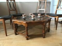 Beautiful solid wood and glass coffee table