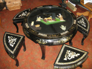 Oriental Black Lacquer Table and Stools