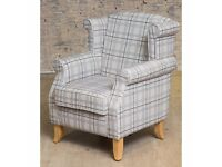 New small grey check wingback chair... FIRM.. reduced