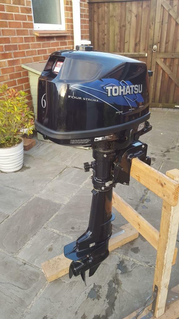 Tohatsu 6 hp 4 stroke outboardin Broadstone, DorsetGumtree - Tohatsu 6 hp 4 stroke outboard,We purchased the engine new from ski marine in charminster in July 2014, and its in as new condition only just been ran in with approximately 10 hours use,Starts first pull and pumps perfectly,Forward, neutral and...