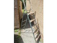 5 Tread Metal Stepladder converts to 10 rung Ladder