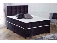 BRAND New Crushed Velvet Fabric Divan Bed Base With Different Mattress - SINGLE DOUBLE AND KING SIZE