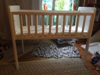Good as new Mothercare Hyde Crib with mattress small cot baby/newborn