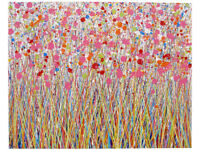 LARGE MODERN ART NEW ABSTRACT PINK FLOWER LANDSCAPE PAINTING ON 1 METRE BOX CANVAS | Free Delivery