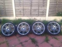 """4 x Genuine 20"""" inch Audi Wheels with Tyres BLACK EDITION"""
