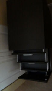 Black/Brown 2 File Cabinets, - 4 Drawers