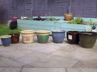 Assorted ceramic plant pots