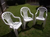 3 White Plastic Garden Chairs Very Good Condition