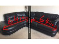 Corner black faux leather Sofa-want fast sale