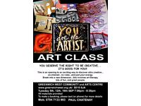 Art for Beginners..affordable..materials provided..just come along. Limited numbers, book early!