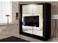 🔥💖Black Walnut & White💗💖 Brand New German Full Mirror 2 Door Sliding Wardrobe w Shelves, Hanging