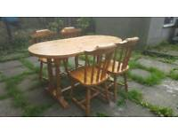 Pine dining table and chairs