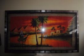 EGYPTIAN LARGE PICTURE ON PAPYRUS PAPER.IN LOVELY FRAME