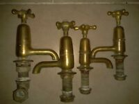 Antique Victorian brass taps, 2 Pairs, Sink basin and bath, Original Patina