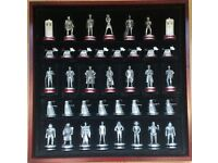 Dr Who Pewter Chess Set With Extension Set And Tardis Display Case