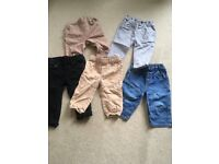 5 pairs of boys jeans and chinos