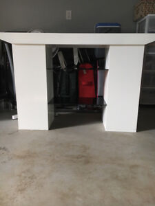 Television Stand , White c/w two glass shelves