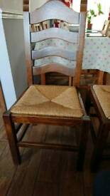 Solid oak ladder back chairs x 4