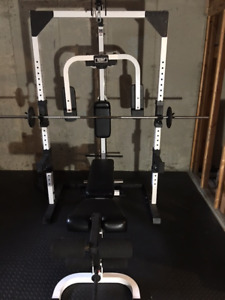 Weight Bench with Squat Rack, Peck Deck, and Cable Assembly