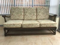 Ercol suite - old colonial type. 2 armchairs & 3 seater sofa