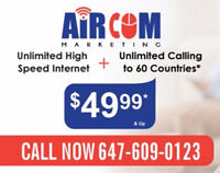 Unlimited high speed internet & homephone - $ 39.99 & up