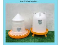 NEW CHICKEN POULTRY CHICK QUAIL 4LITRE ETON DRINKER + 3KG INDOOR FEEDER WITH LID