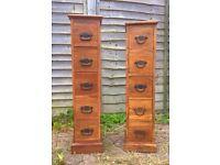 Two Indian sheesham wood 5 drawer chest/ CD storage