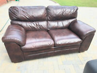 2 Seater Leather Sofa (Varnished Brown Burgundy Effect)
