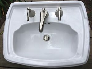Toto sink and Restoration Hardware faucets