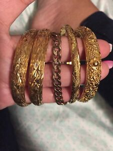 Gold plated bangles and bracelet
